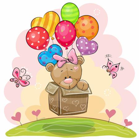 Cute Teddy Bear girl in the box is flying on balloons