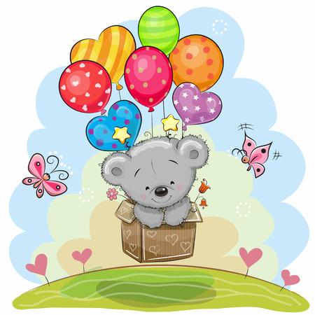 cute bear: Cute Teddy Bear in the box is flying on balloons
