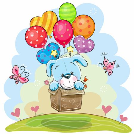 在箱子的逗人喜爱的动画片小狗在气球飞行