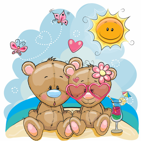 Greeting card Two Bears in a cap on the beach Stock Vector - 78751349