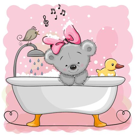 cute bear: Cute cartoon Teddy Bear in the bathroom Illustration