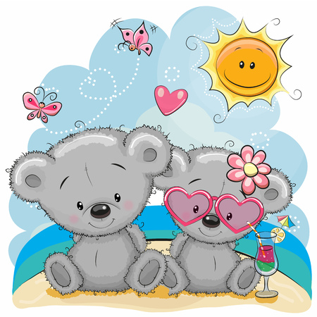 two child: Greeting card Two Bears in a cap on the beach