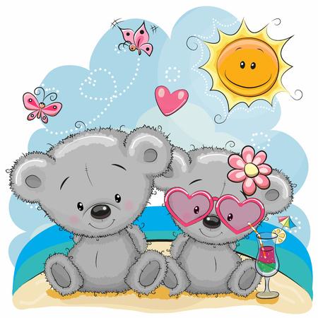 Tarjeta de felicitación Dos osos en un casquillo en la playa Ilustración de vector