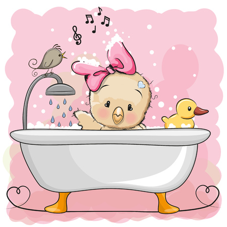 Leuke cartoon Kipmeisje in de badkamer Stock Illustratie