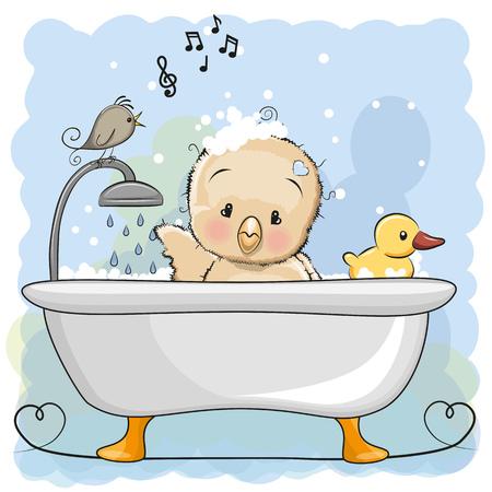 Cute dibujos animados pollo en el baño Foto de archivo - 78751400