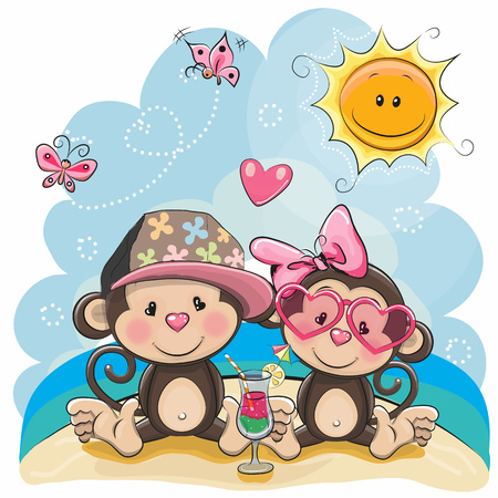 Greeting card Two Monkeys in sitting on the beach Stock Illustratie