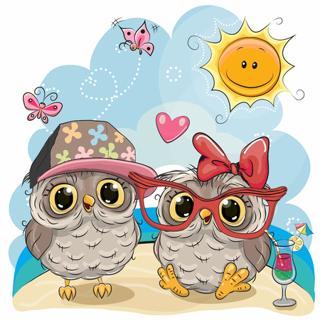 Greeting card Two Owls in sitting on the beach Imagens - 78771233