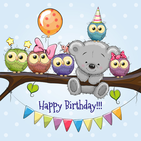 Five Owls and a Bear on a branch with balloon and bonnets