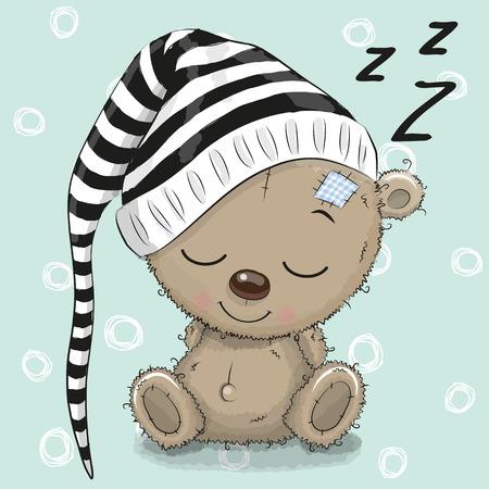 Slapende schattige teddybeer in een kap op een blauwe achtergrond