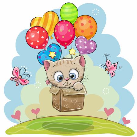 Gatito lindo de la historieta en la caja está volando en los globos Foto de archivo - 78907955