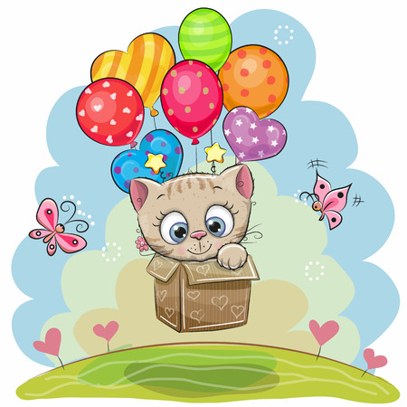 Cute Cartoon Kitten in the box is flying on balloons Stock Illustratie