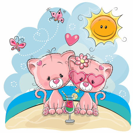 Greeting card Two kittens in a cap on the beach Illustration