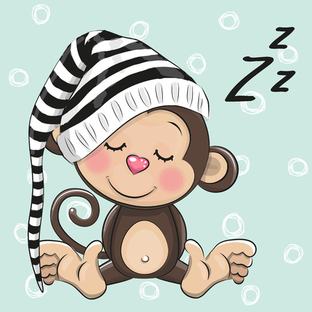 Sleeping cute Monkey in a hood on a blue background Ilustração