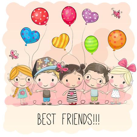 Drie leuke cartoonmeisjes en twee jongens met ballonnen