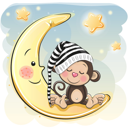Cute Cartoon Monkey is sleeping on the moon