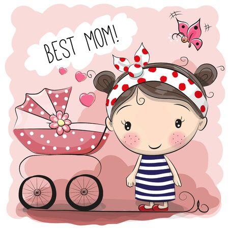 인사말 카드 최고의 엄마와 유모차