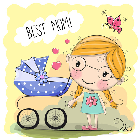 Greeting card Best mom with baby carriage