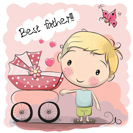 Greeting card Best father with baby carriage Illustration