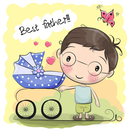 Greeting card Best father with baby carriage Çizim