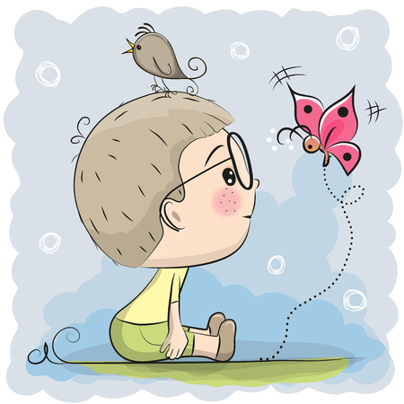 Cute Cartoon Boy with bird and butterfly Illustration