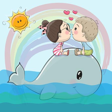 Cute Cartoon boy and girl are kissing on a whale Иллюстрация
