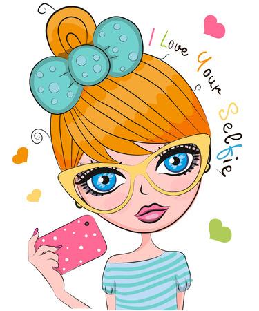 Vector cute cartoon girl with orange hair and glasses makes selfie