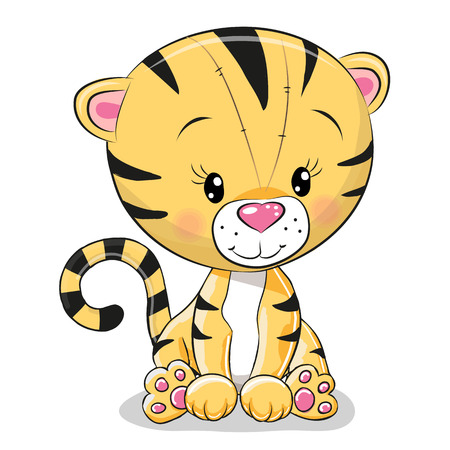 beauty smile: Cute Cartoon Tiger isolated on a white background