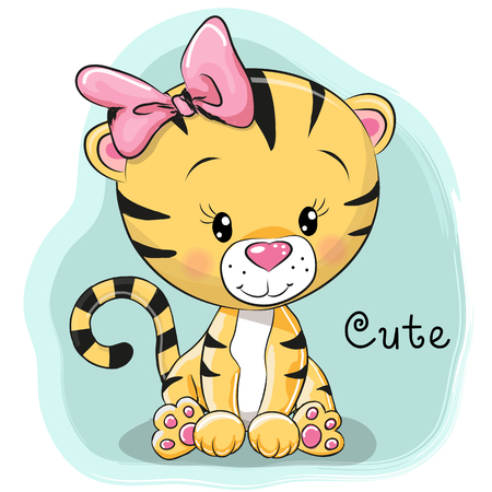 Cute Cartoon Tiger on a blue background Stock Illustratie