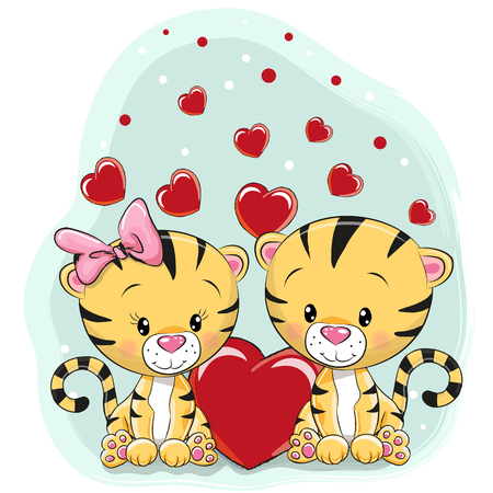 Two Cute Tigers with hearts on a blue background