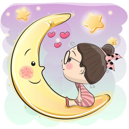 Cute Cartoon girl is sitting on the moon