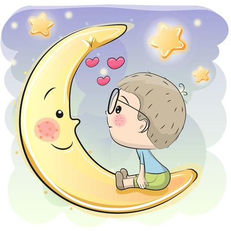 かわいい漫画少年は月に座っています。