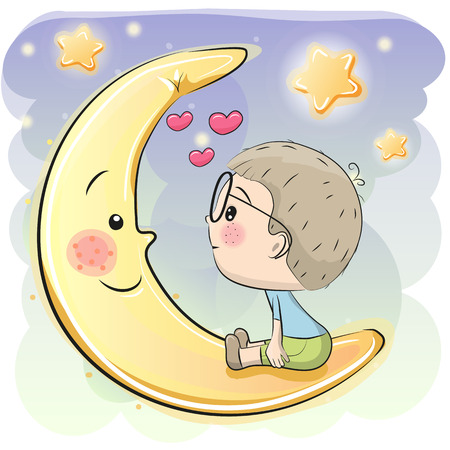 Cute Cartoon boy is sitting on the moon Illustration