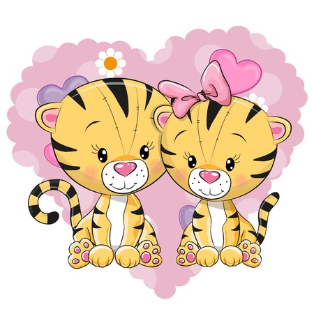 Two cute Tigers on a background of heart