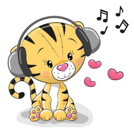 Cute cartoon Tiger with headphones and hearts