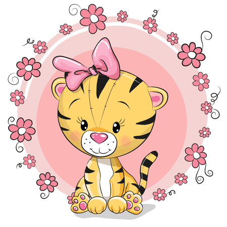 Greeting card cute cartoon tiger with flowers