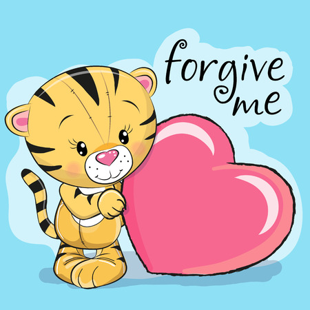 Cute Cartoon Tiger con cuore su uno sfondo lilla Archivio Fotografico - 80538126