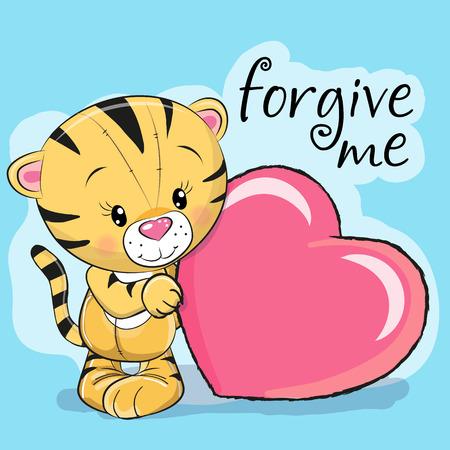 Leuke Cartoon Tiger met hart op een lila achtergrond Stockfoto - 80538126