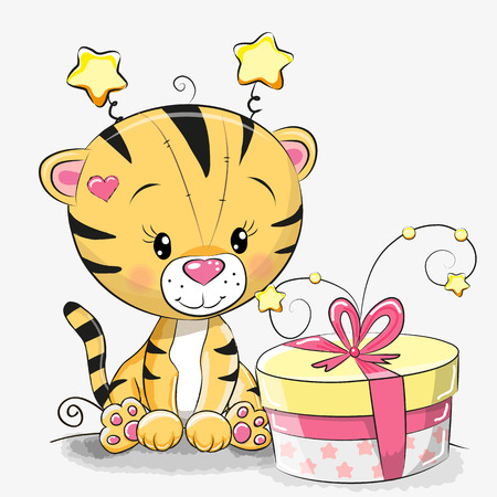 Greeting card cute Tiger with gift on a white background Illusztráció