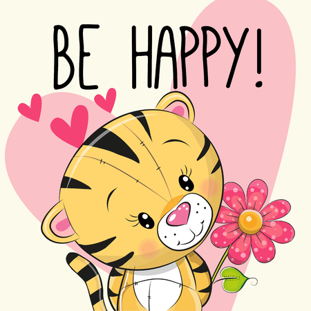 Be Happy Greeting card Tiger with hearts and a flower