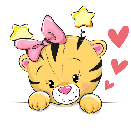 Cute Cartoon Tiger with hearts on a white background