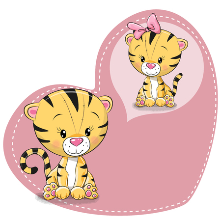 Greeting card Cute cartoon Dreaming Tiger on a heart background 向量圖像