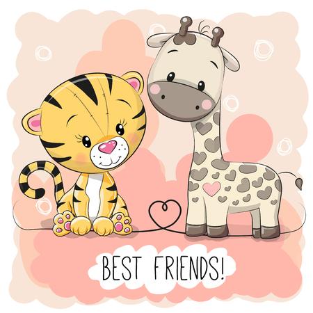 Cute Tiger and Giraffel on a pink background Illusztráció