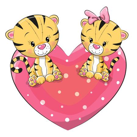Twee schattige Tijgers zit op een hart