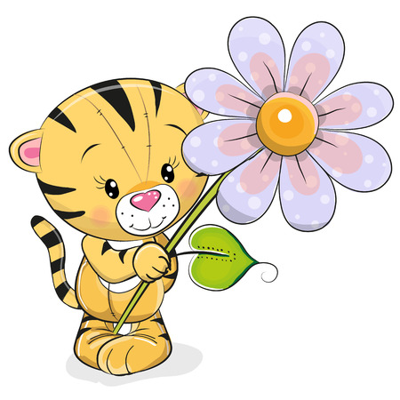Greeting card Tiger with flower on a white background Çizim