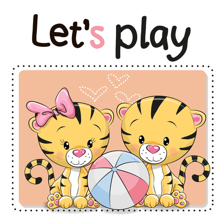 Two Cute Tigers with a ball on a pink background
