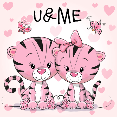 butterfly background: Two cute Tigers on a hearts background