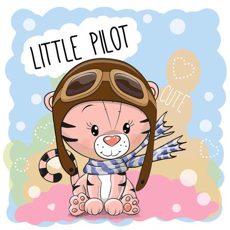 Cute cartoon Teddy Bear in a pilot hat