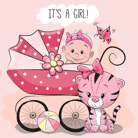 Greeting card it is a girl with baby carriage and a little tiger