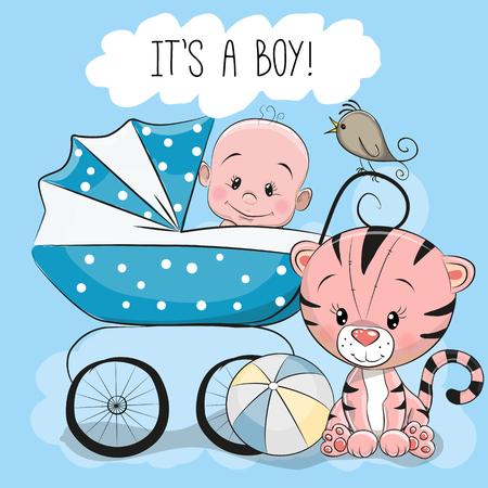 Tarjeta de felicitación es un niño con carro de bebé y un pequeño tigre Foto de archivo - 82017478