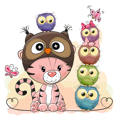 Cute Cartoon Tiger in a owl hat and five Owls